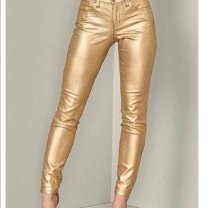 New gold metallic skinny pants